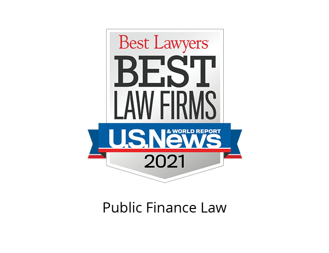 Best Lawyers Best Law Firms 2021 Badge, Public Finance Law