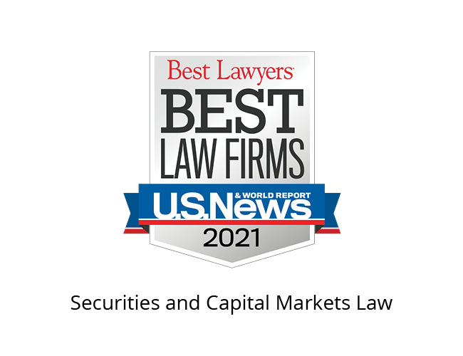 Best Lawyers Best Law Firms 2021 Badge, Securities and Capital Markets Law