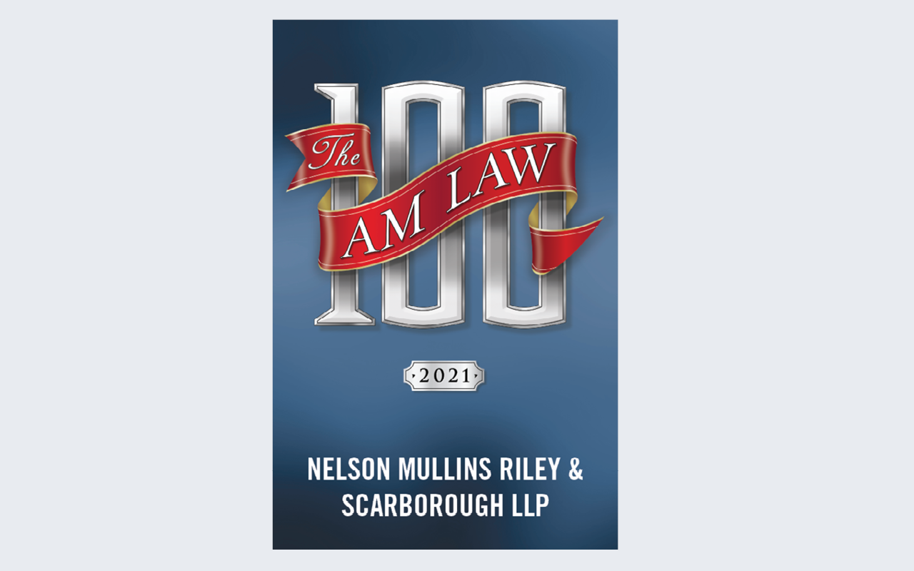 Badge for The Am Law 100 ranking Nelson Mullins in top 100 firms