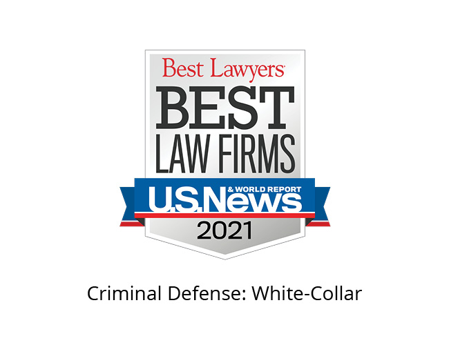 Best Lawyers Best Law Firms 2021 Badge, criminal defense: white collar