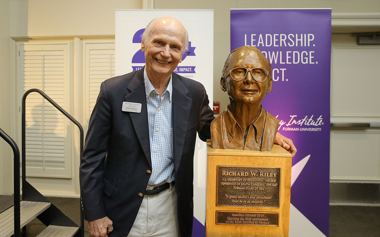 Furman University's Riley Institute Celebrates 20 years, Honors Dick Riley with Bust