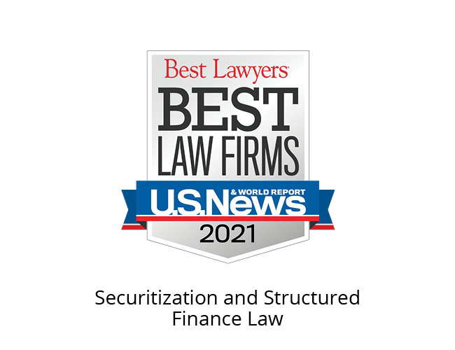 Best Lawyers Best Law Firms 2021 Badge, securitization and structured finance law