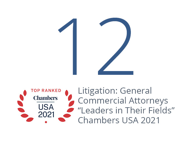 """12 Nelson Mullins Litigation: General Commercial Attorneys """"Leaders in Their Fields"""" Chambers USA 2021"""