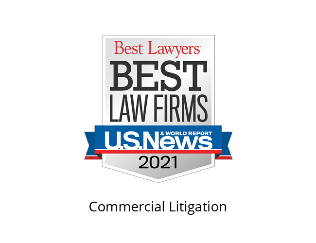 Best Lawyers Best Law Firms 2021 Badge, commercial litigation